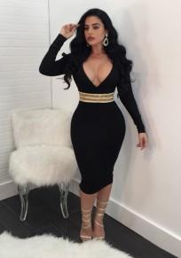 Black Patchwork Sequin Zipper Slit Bodycon Deep V-neck Party Midi Dress