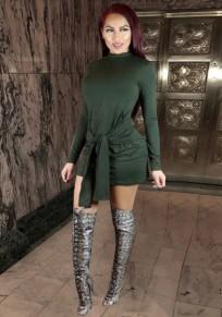 Mini vestido fajas cremallera bodycon cuello de banda fiesta verde