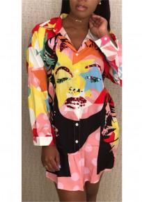 Pink Figure Print Sequin Single Breasted Turndown Collar Streetwear Blouse Mini Dress