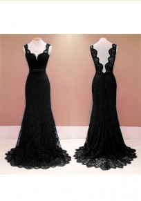 Black Lace Sashes Backless V-neck Sleeveless Elegant Wedding Gowns Maxi Dress