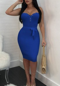 Midi-robe river noeud-papillon bandeau à bodycon clubwear bleu royal