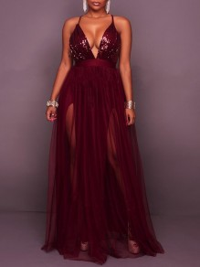 Burgundy Sequin Grenadine Spaghetti Strap Backless Deep V-neck Party Maxi Dress