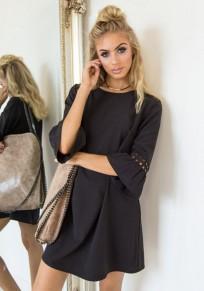 Black Ruffle Round Neck Fashion Mini Dress