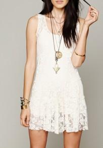 White Lace Round Neck Fashion Mini Dress