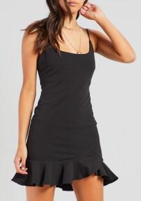 Mini vestido volante irregulares sin mangas negro