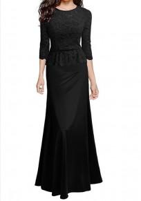 Maxi abito gomito in pizzo girocollo elegante nero