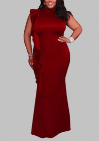 Burgundy Ruffle Draped Bodycon Plus Size High Neck Elegant Cocktail Party Maxi Dress
