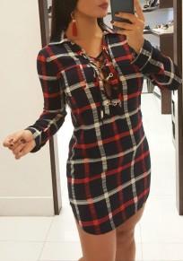 Black Plaid Drawstring Turndown Collar Fashion Mini Dress