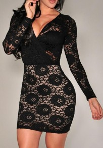 Robe courte en dentelle v-cou manches longues moulante de cocktail noir
