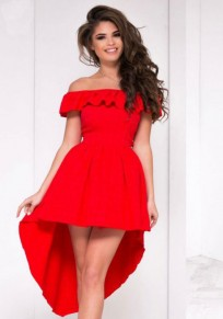 Red Ruffle Irregular Off Shoulder Backless Swallowtail High-low Party Midi Dress