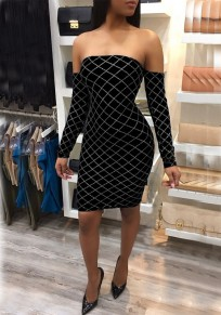 Black Plaid Bright Wire Bandeau Off Shoulder Backless Sparkly Bodycon Party Midi Dress