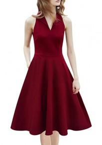 Wine Red Pockets Draped Turndown Collar V-neck Sleeveless Midi Dress
