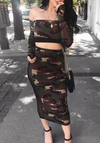 Army Green Camouflage Grenadine Off Shoulder Backless Two Piece Club Party Midi Dress