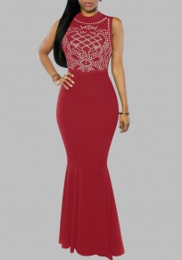 Burgundy Mosaic Rhinestone Pleated Mermaid Formal Christmas Gown Elegant Maxi Dress