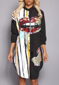 Black Monogram Patchwork Sequin Long Sleeve Band Collar Streetwear Midi Dress