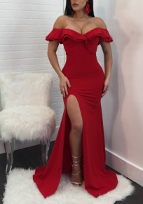 Red Ruffle Side Slit Off Shoulder Backless Mermaid Elegant Gowns Party Maxi Dress