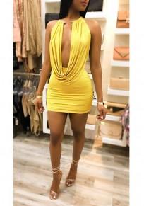 Mini robe bodycon deux pièces cravate dos nu décolleté plongeant clubwear jaune