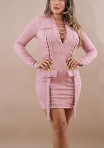 Rosa Kreuz Taschen V-Ausschnitt Langarm Beiläufig Minikleid
