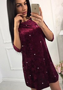 Wine Red Patchwork Pearl Round Neck Fashion Mini Dress
