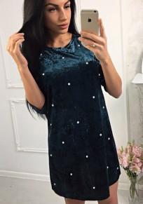 Grün Velvet mit Perlen Rundhals Mode Winter Samt Minikleid Partykleider