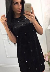 Schwarz Velvet mit Perlen Rundhals Mode Winter Samt Minikleid Partykleider