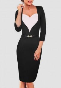 Black White Patchwork Herz Belt V-neck 3/4 Sleeve Knee Length Midi Dress
