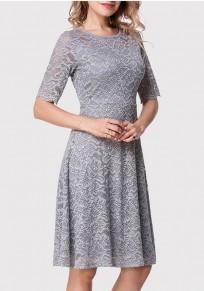 Midi-robe fermeture éclair en dentelle col rond retour à la maison gris