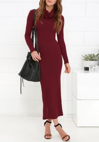 Wine Red Cut Out Cowl Neck Elegant Maxi Dress