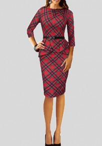 Red Plaid Belt Peplum Formal Bodycon 3/4 Sleeve Elegant Midi Dress