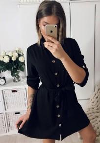 Mini robe poitrine cordon de serrage irrégulière col rabattulier occasionnel noir