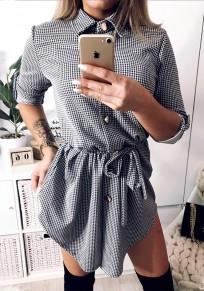 Black Plaid Single Breasted Drawstring Irregular Turndown Collar Mini Dress
