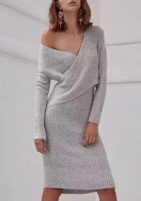 Grey Wrap Irregular Bodycon One-shoulder Long Sleeve V-neck Elegant Casual Knit Jumper Midi Dress