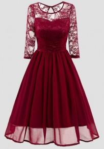 Wine Red Patchwork Lace Round Neck Long Sleeve Vintage Midi Dress