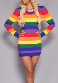 Colorful Striped Rainbow Print Long Sleeve Bodycon Fashion Mini Dress