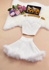 White Patchwork Fur Condole Belt 2-in-1 V-neck Sweet Mini Dress