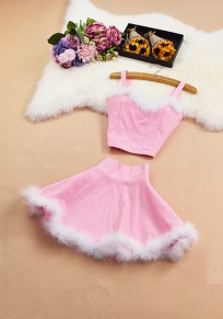 Pink Patchwork Fur Condole Belt 2-in-1 V-neck Sweet Mini Dress