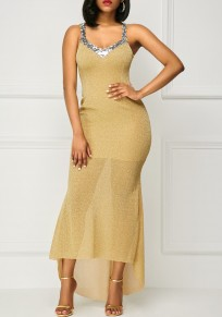 Yellow Sequin Swallowtail Backless High-Low Mermaid Banquet Elegant Party Maxi Dress