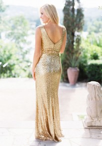 Golden Sequin Draped Backless Bridesmaid Banquet Elegant New Year Eve Party Maxi Dress