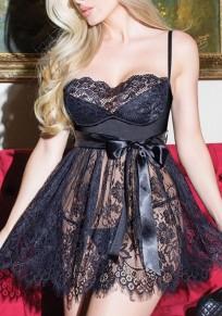 Mini robe bretelle cordon de serrage noir