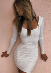 White Pleated Scoop Neck Backless Long Sleeve Bodycon Cocktail Party Club Mini Dress