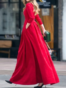 Red Pleated Zipper Banquet Plus Size 3/4 Sleeve Cocktail Party Elegant Maxi Dress