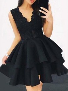Black Patchwork Lace Cascading Ruffle V-neck Elegant Tutu Birthday Party Mini Dress