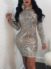 Silver Floral Sequin Grenadine Sparkly Bodycon Clubwear Cocktail New Year Party Mini Dress