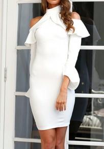 White Cut Out Ruffle Zipper Band Collar Long Sleeve Midi Dress