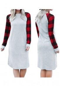 Grey Patchwork Plaid Long Sleeve Casual Christmas Dress