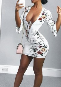 White Floral Print Drawstring V-neck Fashion Mini Dress