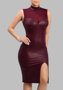 Burgundy Patchwork Grenadine Faux Leather Slit Band Collar Elegant Cocktail Party Midi Dress
