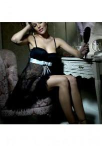 Black Condole Belt Lace Fashion Mini Dress
