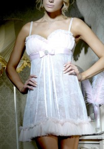 White Condole Belt Lace Fashion Mini Dress