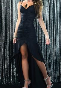 Black Condole Belt Ruffle Plunging Neckline High Low Fashion Banquet Prom Bodycon Maxi Dress